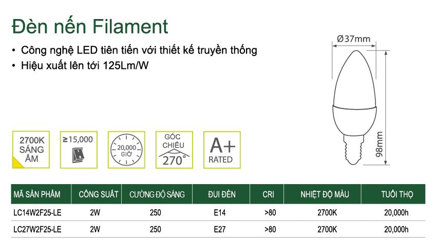 Đèn Led LUCECO nến Filament