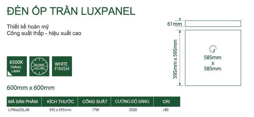 Đèn LED LUCECO ốp trần Luxpanel